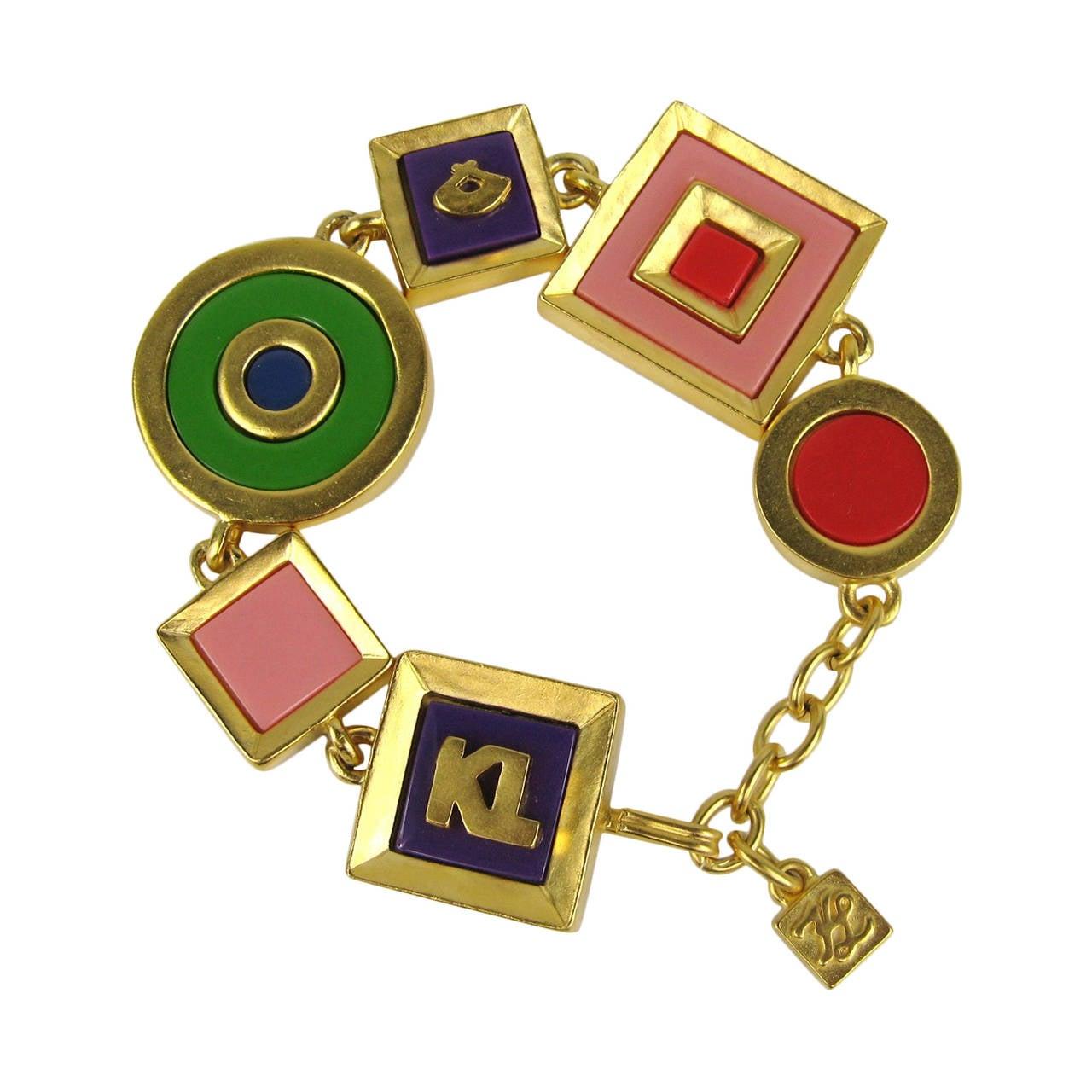 Karl Lagerfeld Charm Enameled Gilt Bracelet 1980s New,  Never Worn  1