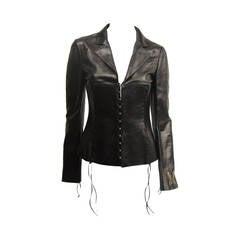ROBERTO CAVALLI Black  leather cropped biker jacket S