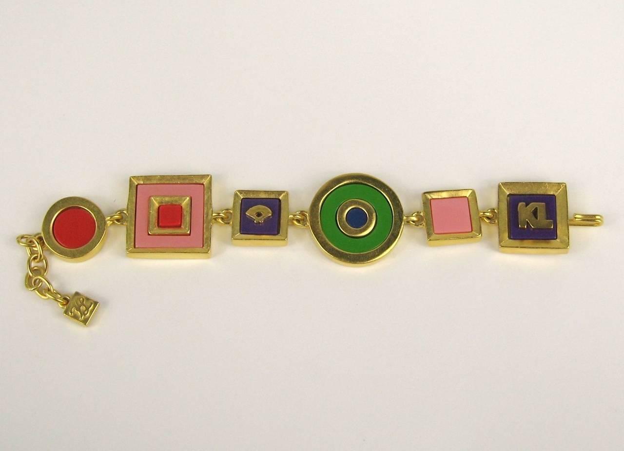 Karl Lagerfeld Charm Enameled Gilt Bracelet 1980s New,  Never Worn  3