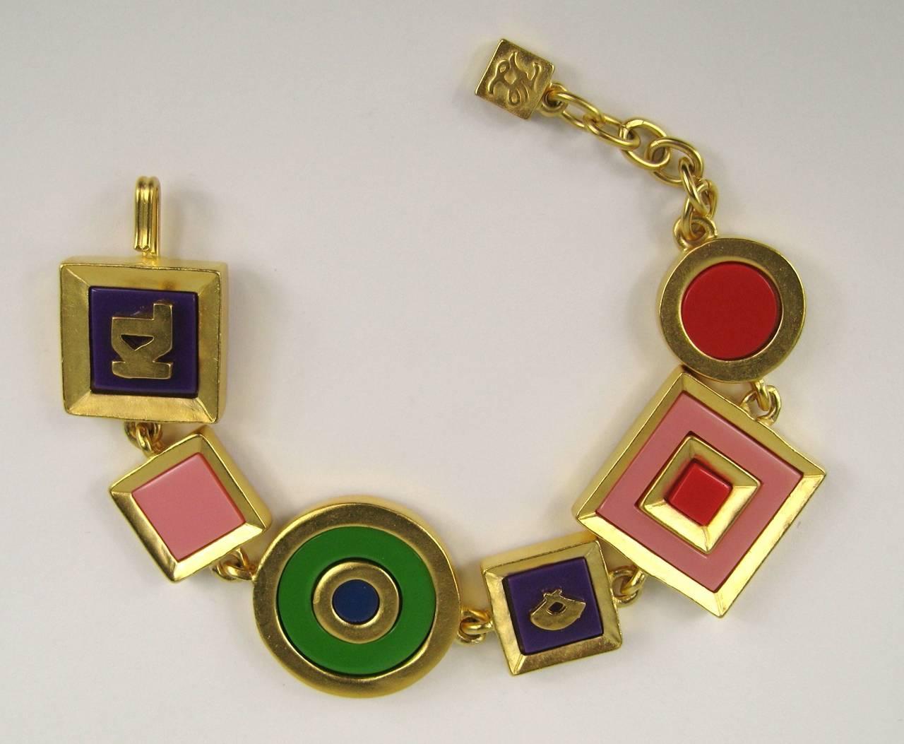 Karl Lagerfeld Charm Enameled Gilt Bracelet 1980s New,  Never Worn  2