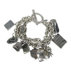 """Heavy Sterling Silver Charm Bracelet """"Better for the Earth"""" Susan Cummings 1980s"""