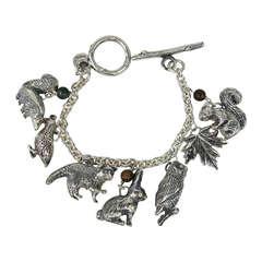 Sterling Silver3-D  Charm Bracelet Animals Susan Cummings 1980s