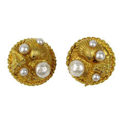1980's Dominique Aurientis Gold Gilt Sea shell Earrings  New Old stock