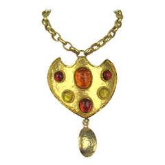 1980's Dominique Aurientis gripoix Shield Necklace New Old stock