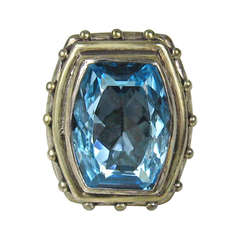 1990s Stephen Dweck Sterling Silver Blue Topaz Ring New, Never worn