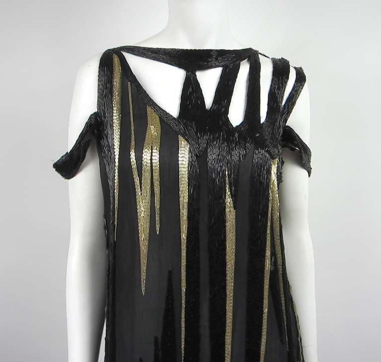 Bob Mackie 1980s Gold and Black Beaded asymmetrical Flapper style dress 2