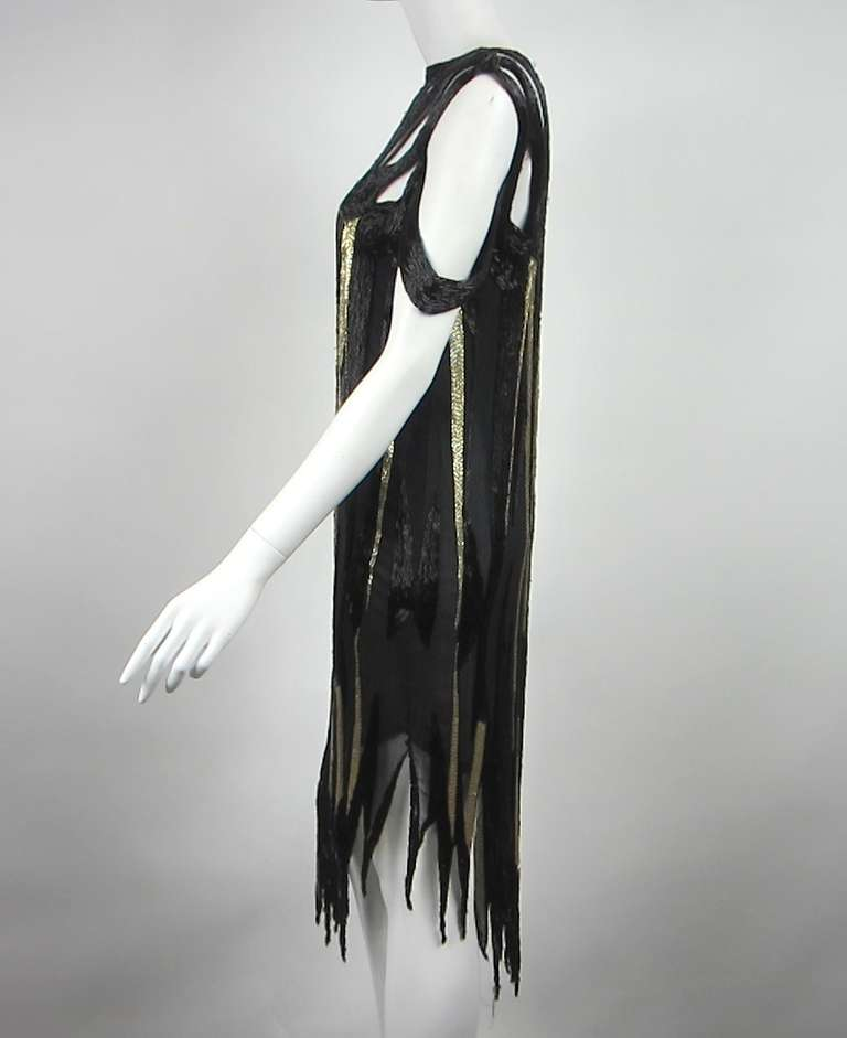 Bob Mackie 1980s Gold and Black Beaded asymmetrical Flapper style dress 3