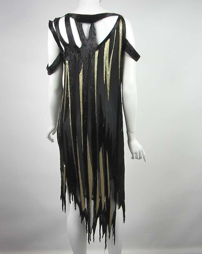 Bob Mackie 1980s Gold and Black Beaded asymmetrical Flapper style dress 4