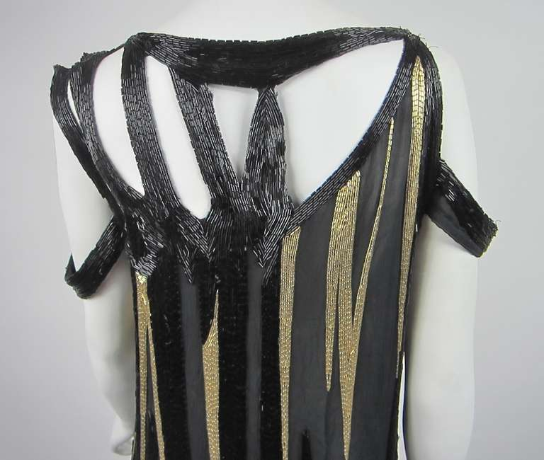 Bob Mackie 1980s Gold and Black Beaded asymmetrical Flapper style dress 5