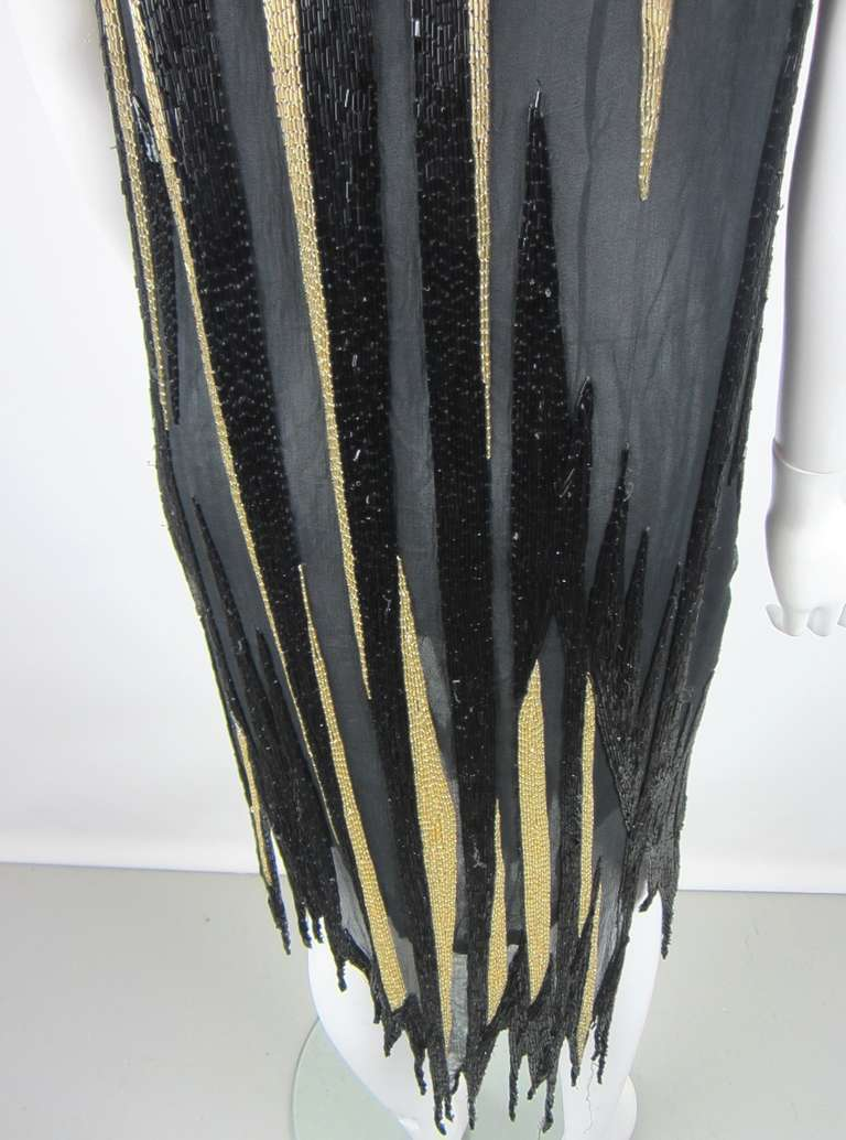 Bob Mackie 1980s Gold and Black Beaded asymmetrical Flapper style dress 6