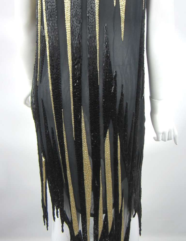 Bob Mackie 1980s Gold and Black Beaded asymmetrical Flapper style dress 7
