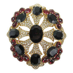 1990s Ciner swarovski black and red Brooch / Pendant Never worn