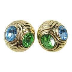 Ciner Blue & Green Swarovski Crystal Earrings New, Never worn