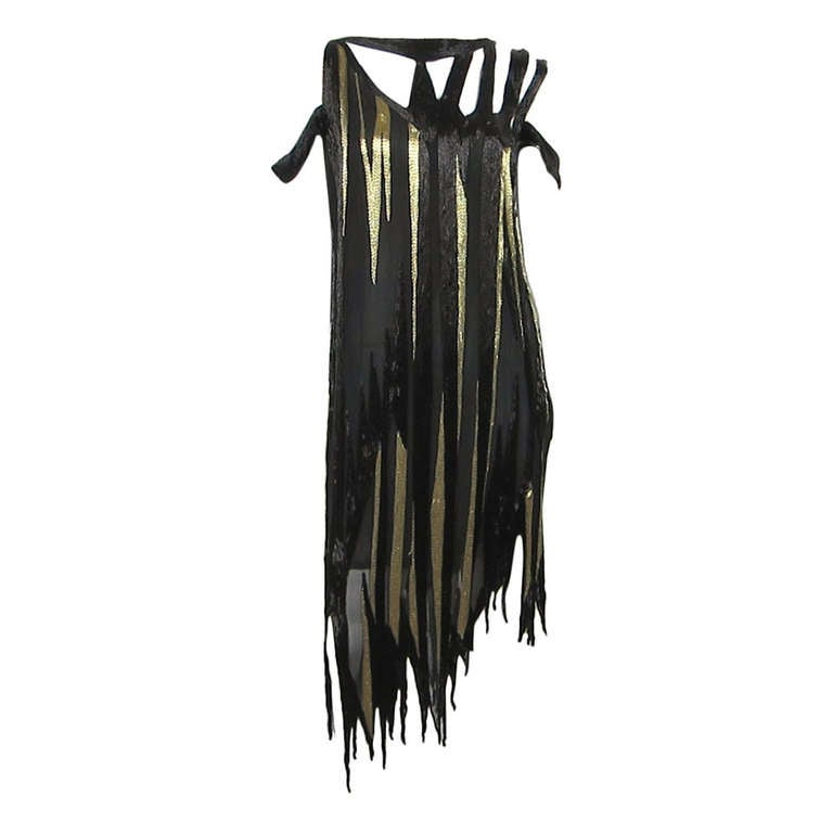 Bob Mackie 1980s Gold and Black Beaded asymmetrical Flapper style dress 1