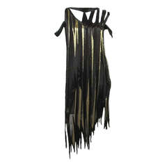 Bob Mackie 1980s Gold and Black Beaded asymmetrical Flapper style dress