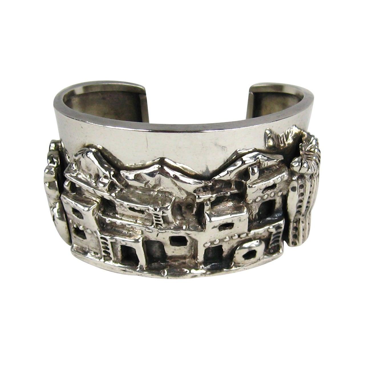Carol Felley Story Teller Sterling Silver Cuff Bracelet