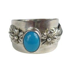 Carol Felley Turquoise Sterling Silver Ring 1992