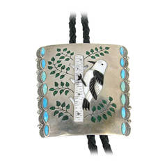 Stunning 1960s Silas & Bertie Ohmsatte Zuni Artians Sterling Silver Bolo