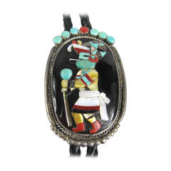 1970s Sterling SIlver Native American Zuni Dancer Bolo