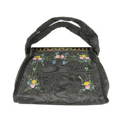 "1939 Hand Painted Black Floral ""bags of tomorrow"" New In Box Hand Bag"