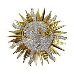 Daniel Swarovski Crystal Sun & Moon Brooch Pin