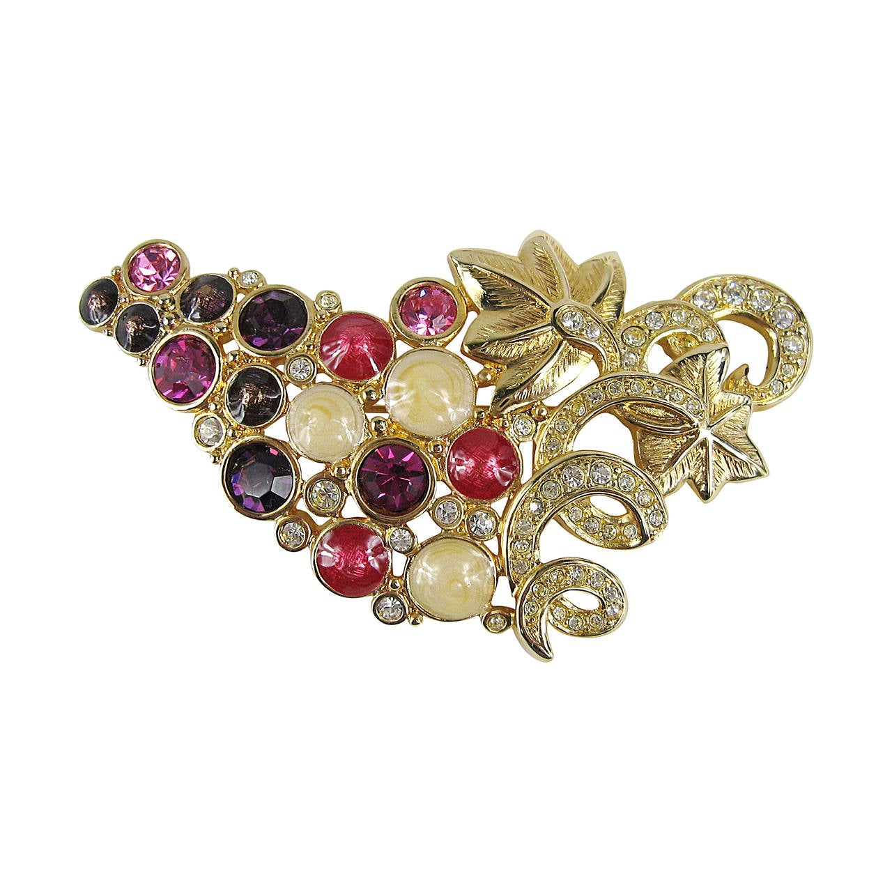 Daniel Swarovski Crystal Grape Brooch For Sale at 1stdibs