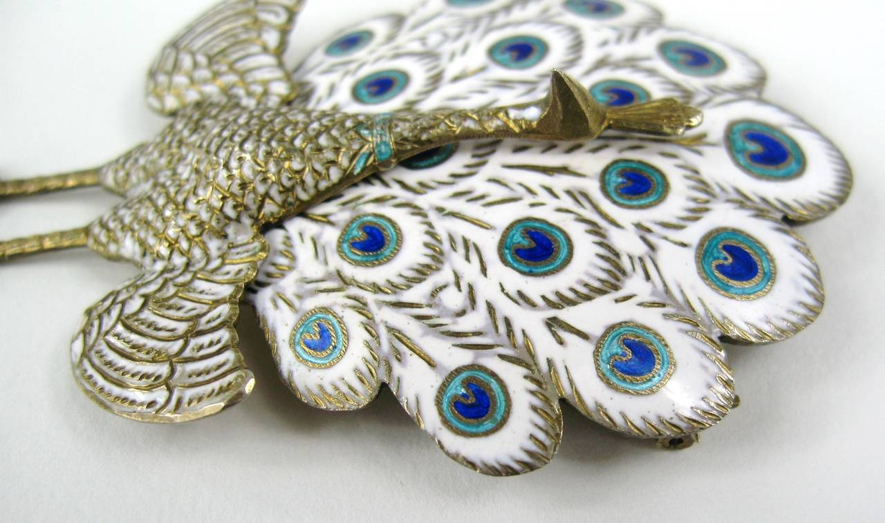 Sterling Silver Enamel Peacock Figural Siam Pin For Sale 1