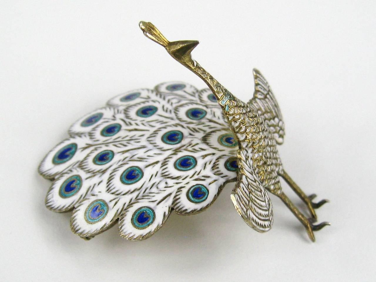 Sterling Silver Enamel Peacock Figural Siam Pin In Excellent Condition For Sale In Wallkill, NY