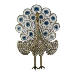 Sterling Silver Enamel Peacock Figural Siam Pin