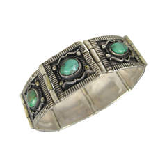 Native American Pawn Turquoise Panel Sterling Bracelet