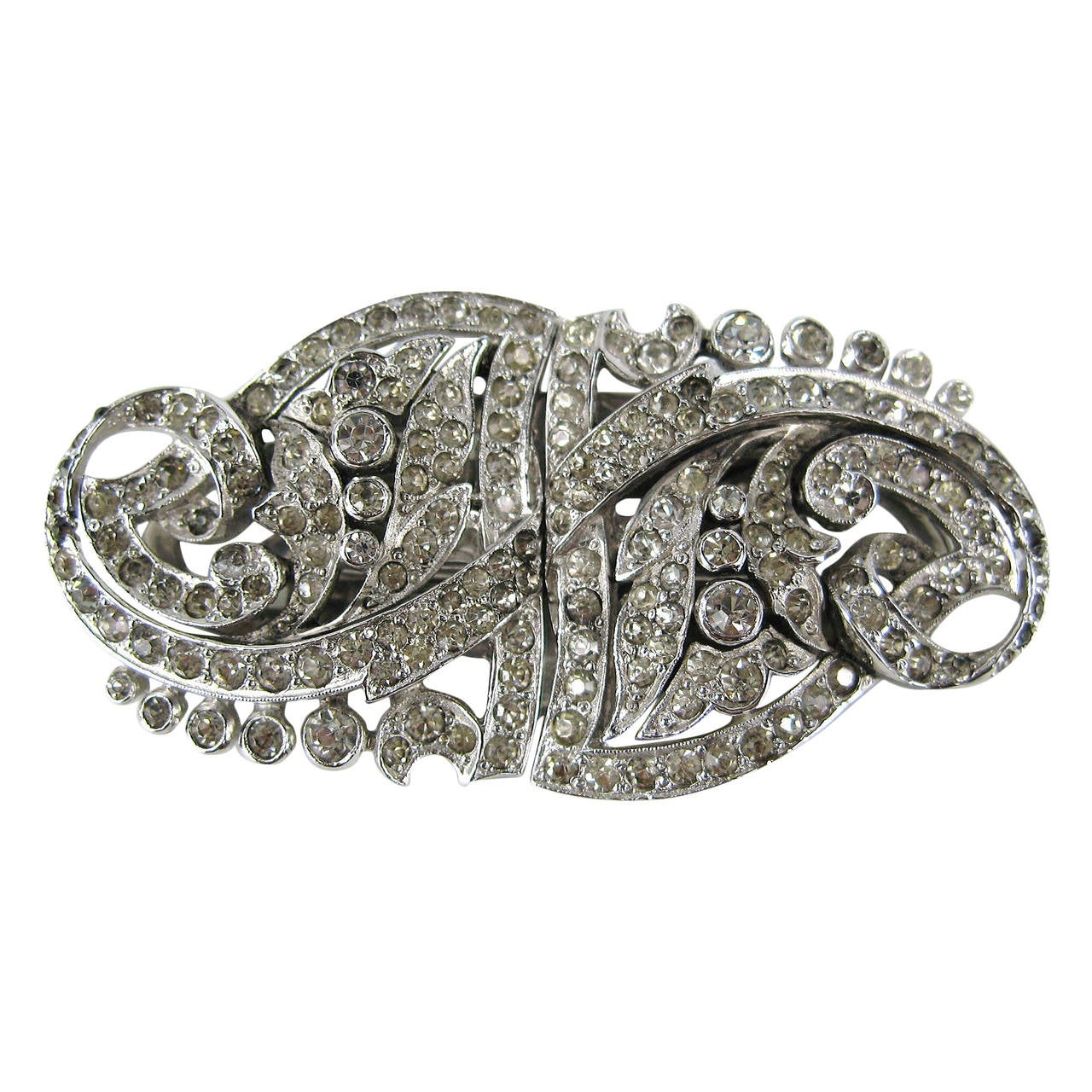 1940s Rhinestone Old Hollywood Coat Clip Brooch 1