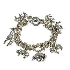 Sterling Silver 1990s Carol Felley Wild animal Charm Bracelet
