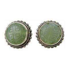Stephen DWECK Carved Jade sterling Twist bead earring 1990s