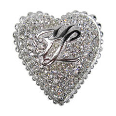 Karl Lagerfeld Large Crystal Heart Brooch New Never worn 1990s