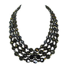 BARRERA Bib 4 strand  faceted Glass Necklace Never worn 1990s