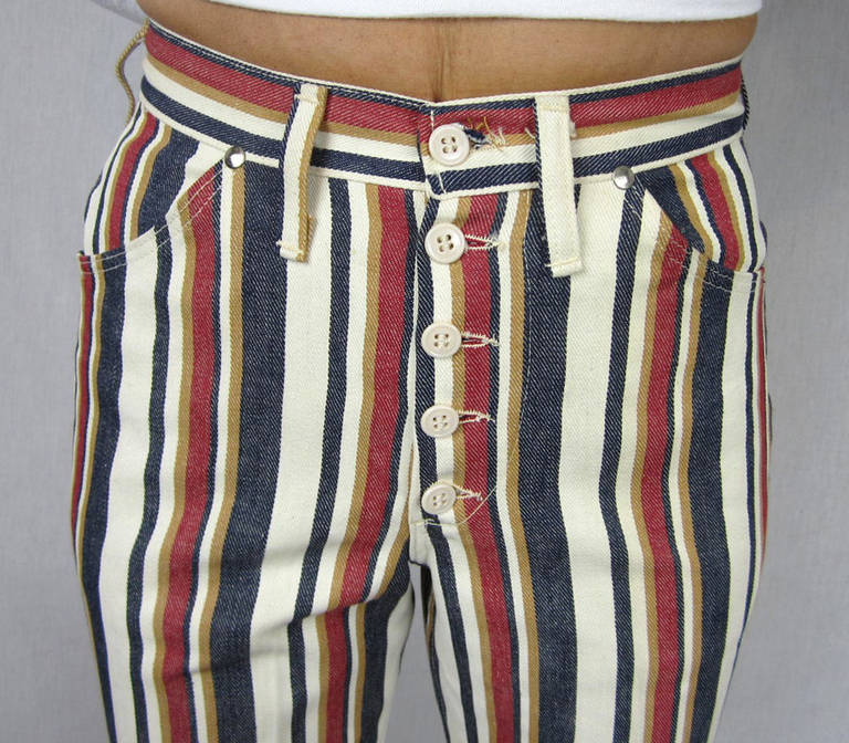 1960s New Old Stock Striped Wrangler button front Jeans 2