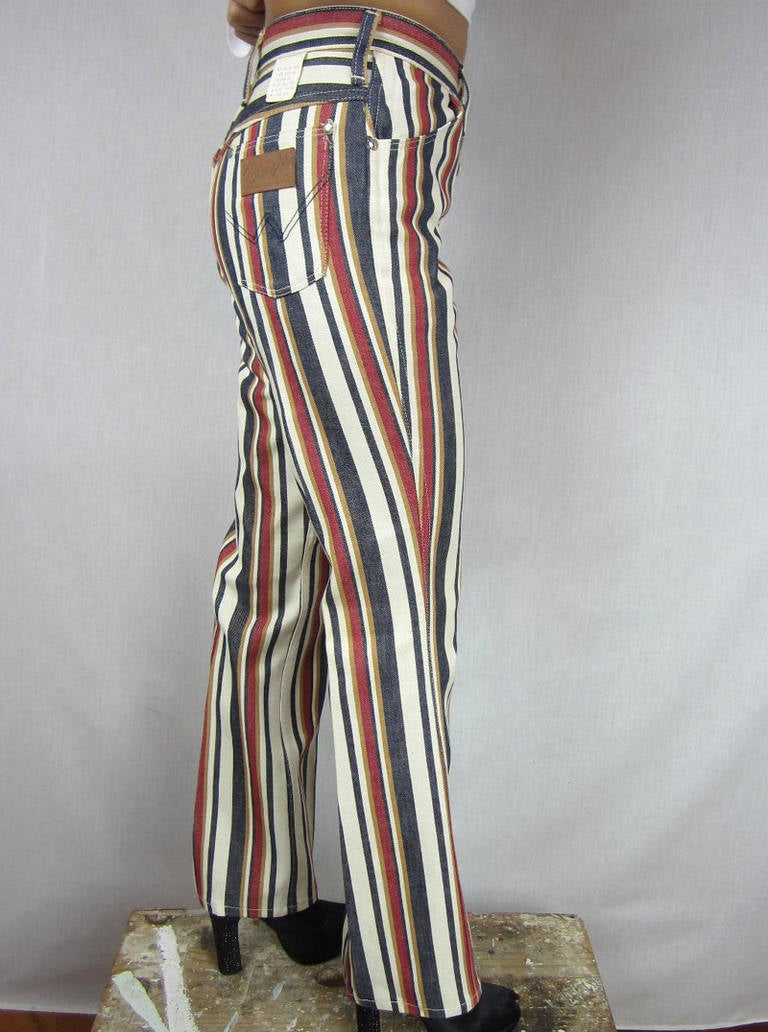 1960s New Old Stock Striped Wrangler button front Jeans 3