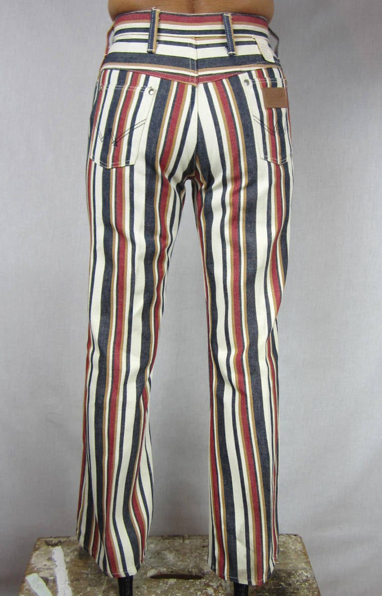 1960s New Old Stock Striped Wrangler button front Jeans 4