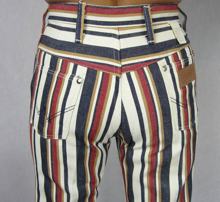 1960s New Old Stock Striped Wrangler button front Jeans 5
