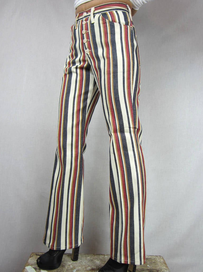 1960s New Old Stock Striped Wrangler button front Jeans 6