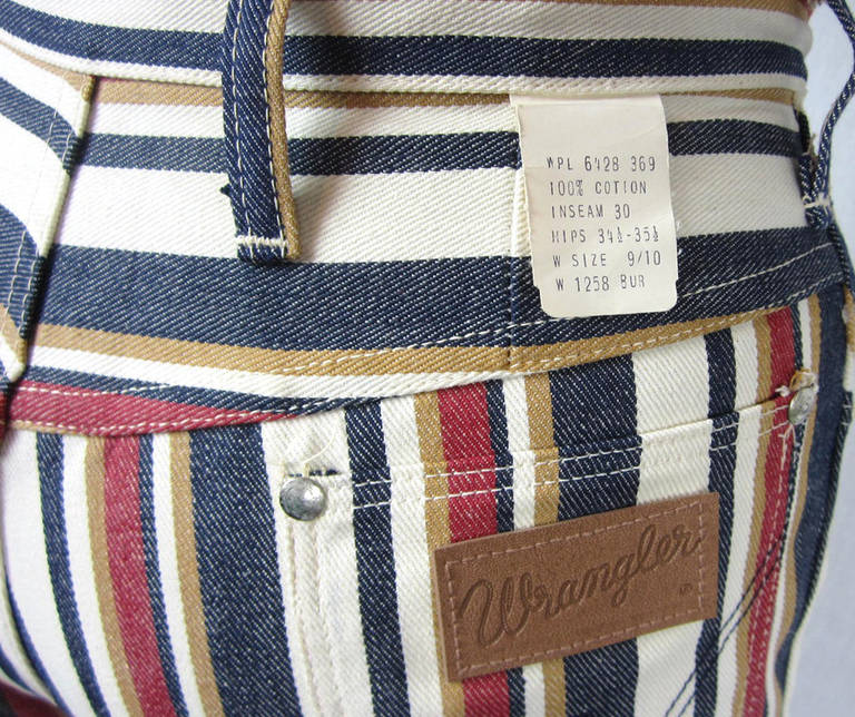 1960s New Old Stock Striped Wrangler button front Jeans 7