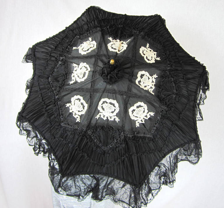 Early Silk & Lace Heavily detailed parasol circa 1900's Perfect 2