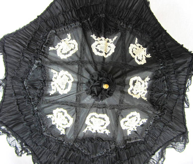 Early Silk & Lace Heavily detailed parasol circa 1900's Perfect 5