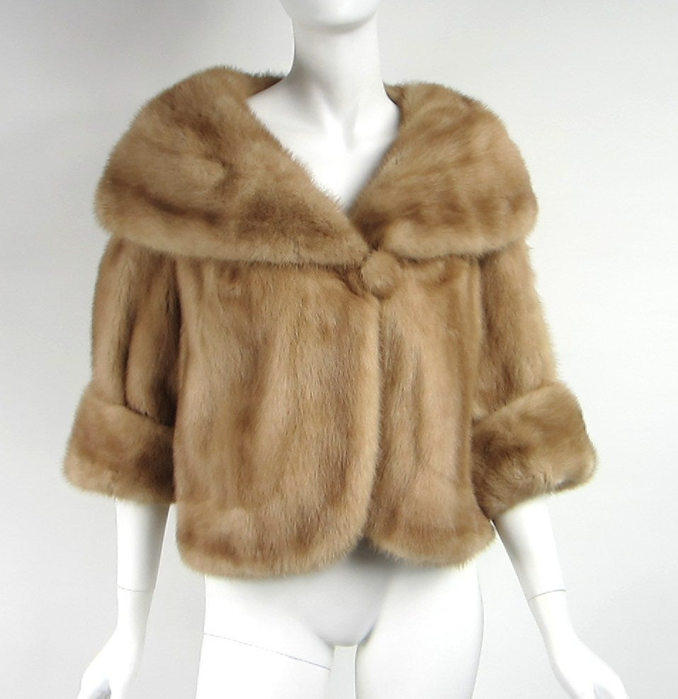 Pastel Mink circa 60s  Fabulous Wide collar Mink covered button closure Shawl Collar Can Be Worn Up or Down Scalloped front Large cuffed sleeves Measuring  Bust up to 22