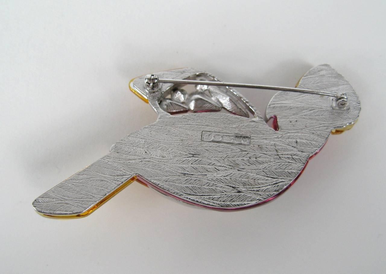 Women's Large Sterling Silver Swarovski Crystal Parrot Brooch New Never Worn  For Sale