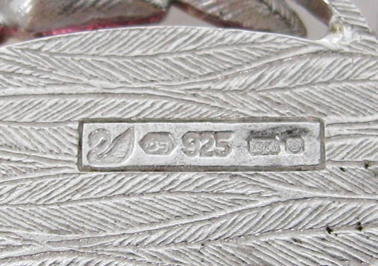 Large Sterling Silver Swarovski Crystal Parrot Brooch New Never Worn  For Sale 1