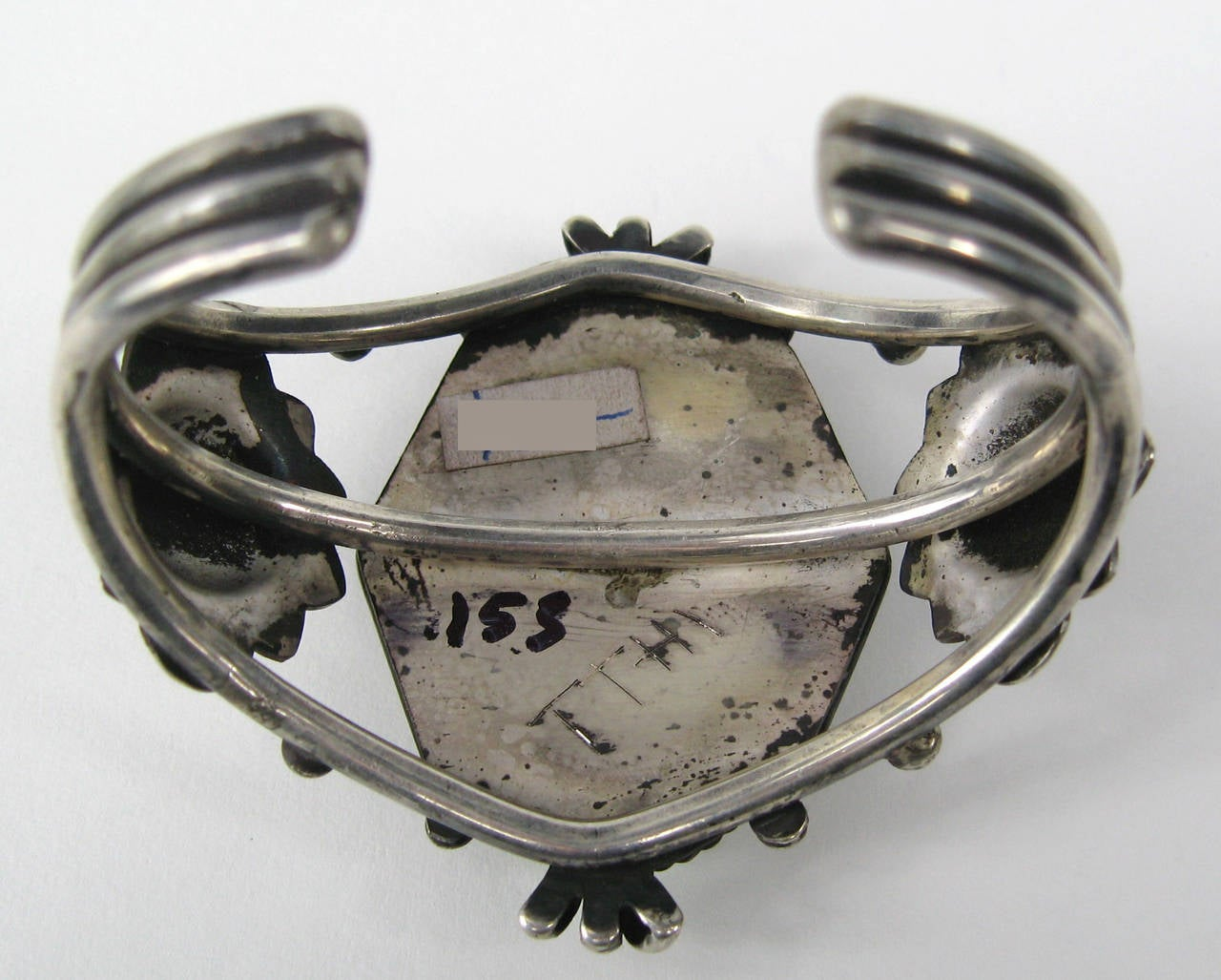 Navajo Sterling silver Old Pawn Hachita turquoise Cuff Bracelet 5