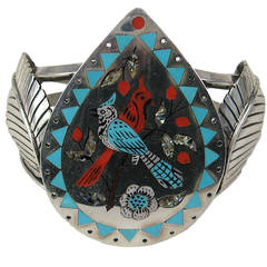 Zuni Sterling Silver Turquoise & Coral Inlaid Cardinal Bracelet