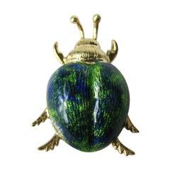 Vintage 14k Gold Enamel Beetle Bug Pendant