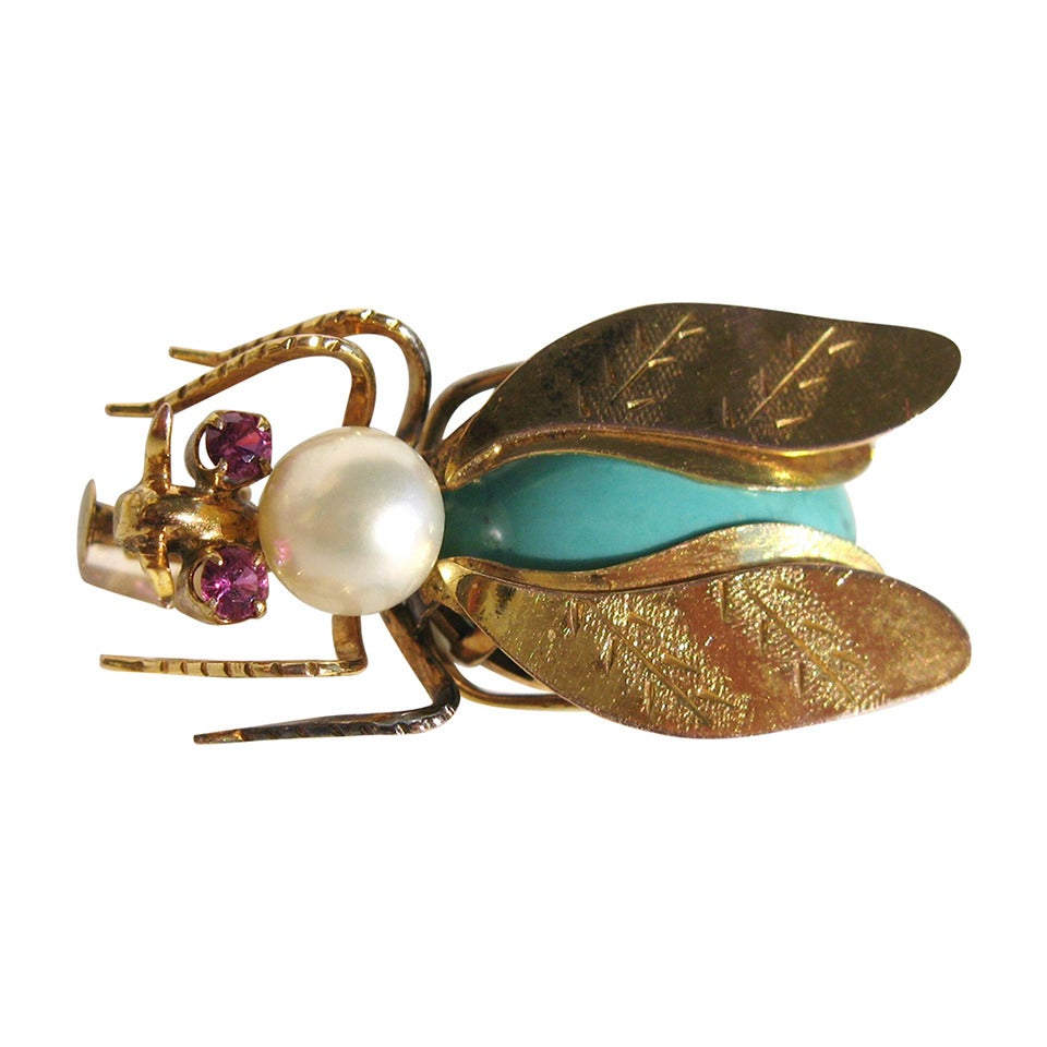 14k Gold Turqouise Pearl & Topaz Fly Insect Brooch 1
